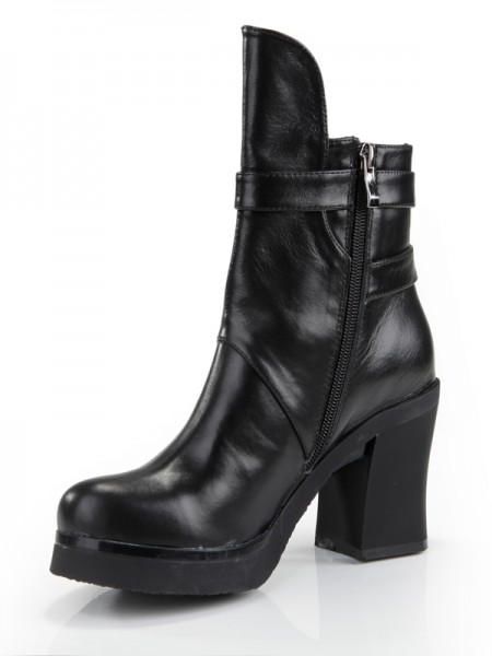 SheenOut Cattlehide Leather Chunky Heel Closed Toe With Zipper Mid-Calf Black Boots S5MA0353LF