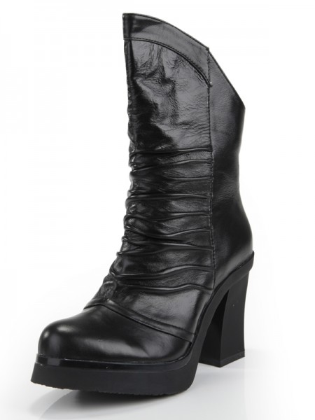SheenOut Cattlehide Leather Chunky Heel Closed Toe With Ruched Mid-Calf Black Boots S5MA0354LF