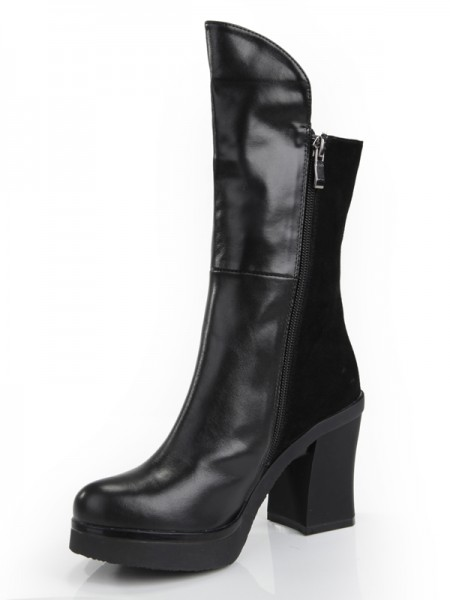 SheenOut Chunky Heel Closed Toe Cattlehide Leather With Zipper Mid-Calf Black Boots S5MA0356LF