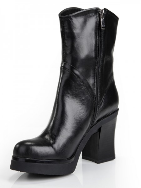 SheenOut Cattlehide Leather Chunky Heel Platform Closed Toe With Zipper Mid-Calf Black Boots S5MA0357LF