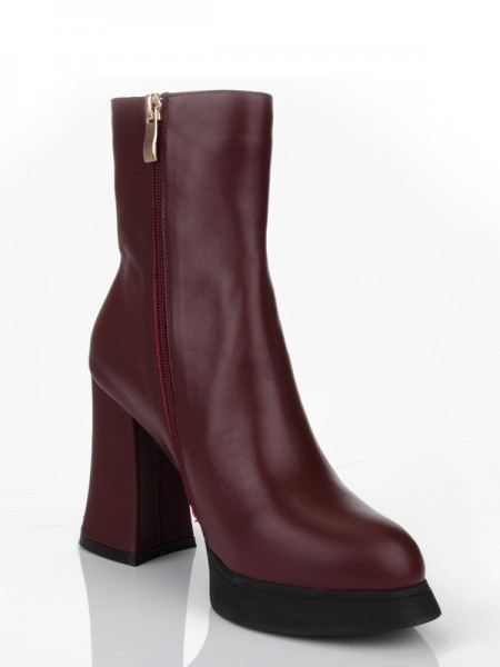 SheenOut Cattlehide Leather Chunky Heel Closed Toe With Zipper Mid-Calf Burgundy Boots S5MA0359LF