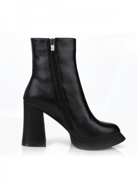 SheenOut Chunky Heel Closed Toe Cattlehide Leather With Zipper Mid-Calf Black Boots S5MA0360LF