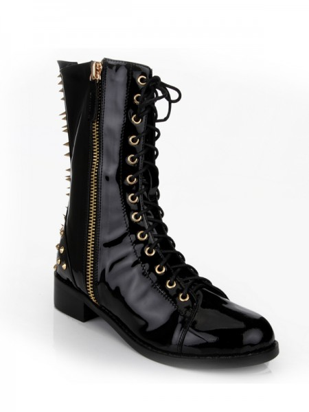 SheenOut Kitten Heel Closed Toe Patent Leather With Rivet Mid-Calf Black Boots S5MA0361LF
