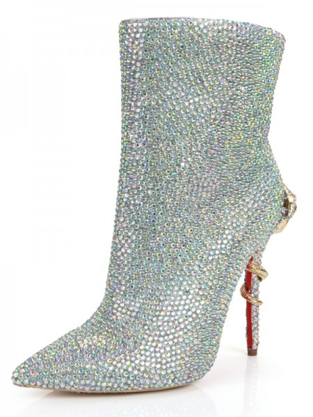 SheenOut Stiletto Heel Closed Toe Sheepskin With Rhinestone Mid-Calf Silver Boots S5MA0364LF
