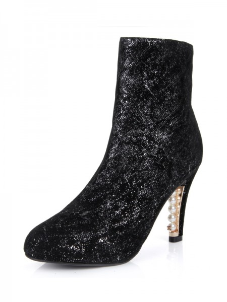 SheenOut Cone Heel Closed Toe Sheepskin With Pearl Mid-Calf Black Boots S5MA0365LF