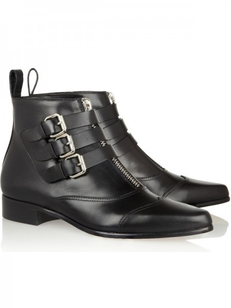 SheenOut Cattlehide Leather Kitten Heel Closed Toe With Zipper Buckle Black Booties S5MA0366LF
