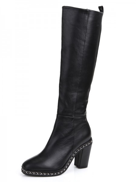 SheenOut Cattlehide Leather Chunky Heel Closed Toe With Chain Knee High Black Boots S5MA0369LF