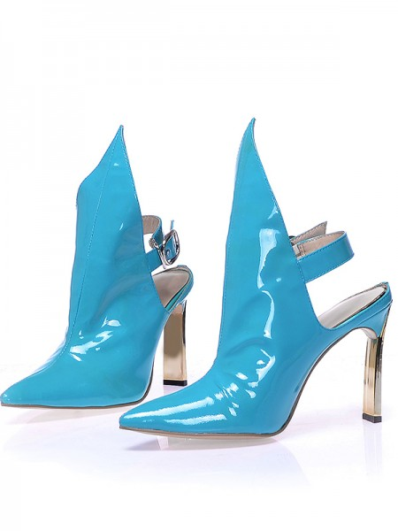 SheenOut Patent Leather Closed Toe Stiletto Heel With Buckle Booties/Ankle Blue Boots S5MA0378LF