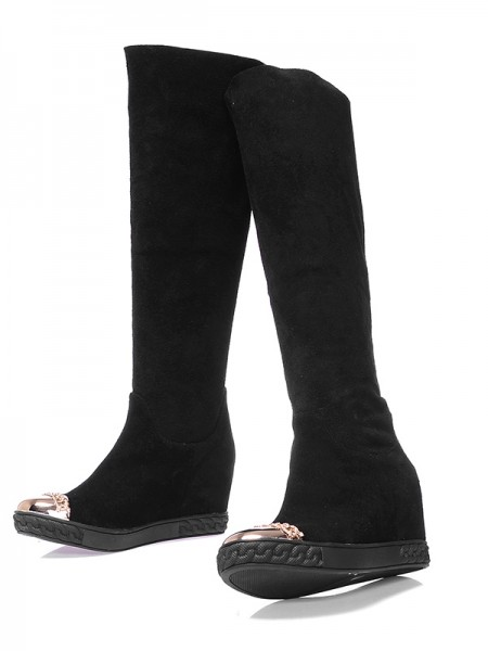 SheenOut Suede Closed Toe Wedge Heel Knee High Black Boots S5MA0384LF