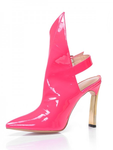 SheenOut Patent Leather Closed Toe Stiletto Heel With Buckle Ankle Watermelon Boots S5MA0393LF