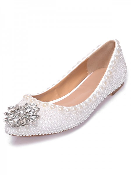 SheenOut Patent Leather Closed Toe Flat Heel With Pearl Rhinestone Casual Flat Shoes S5MA0396LF