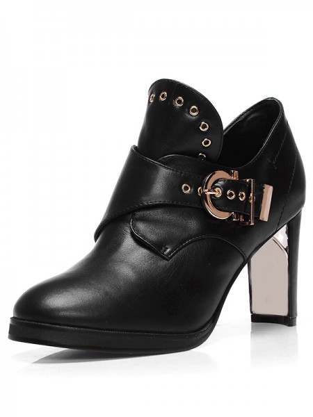 SheenOut Sheepskin Closed Toe Chunky Heel With Buckle Booties/Ankle Black Boots S5MA0398LF