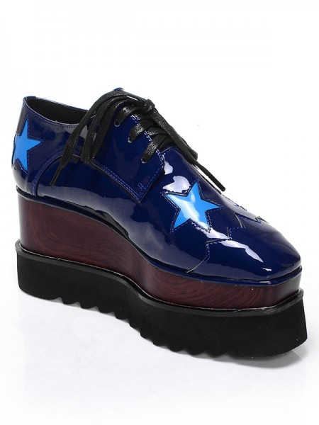 SheenOut Patent Leather Platform Closed Toe Wedge Heel With Lace-up Dark Navy Fashion Sneakers S5MA0400LF