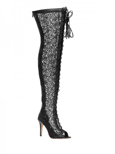 SheenOut Lace Platform Peep Toe Stiletto Heel With Lace-up Over The Knee Black Boots S5MA0402LF