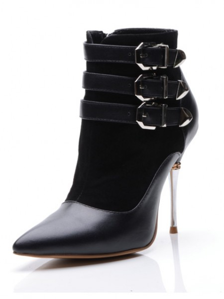 SheenOut Sheepskin Closed Toe Stiletto Heel With Buckle Ankle Black Boots S5MA0403LF