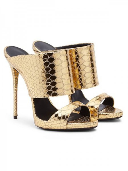 SheenOut Gold Sheepskin Peep Toe Stiletto Heel Sandals Shoes S5MA04100LF