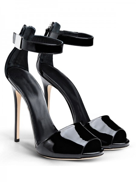 SheenOut Patent Leather Peep Toe Stiletto Heel With Buckle Sandals Shoes S5MA04101LF