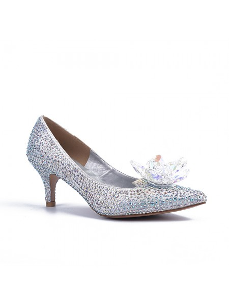 SheenOut Closed Toe Cone Heel With Crystal Flower Silver Wedding Shoes S5MA04146LF
