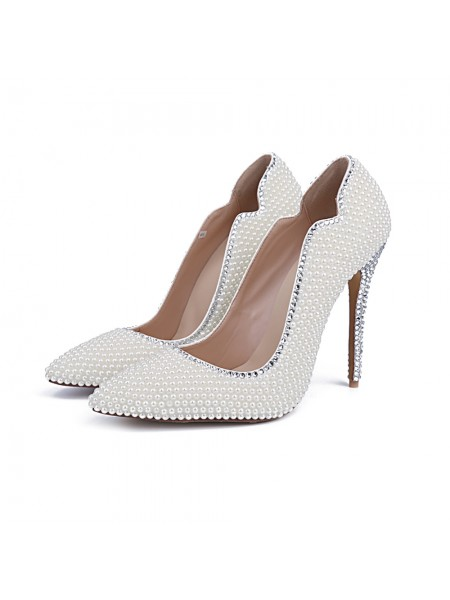 SheenOut Closed Toe Patent Leather Stiletto Heel With Pearl White Wedding Shoes S5MA04149LF