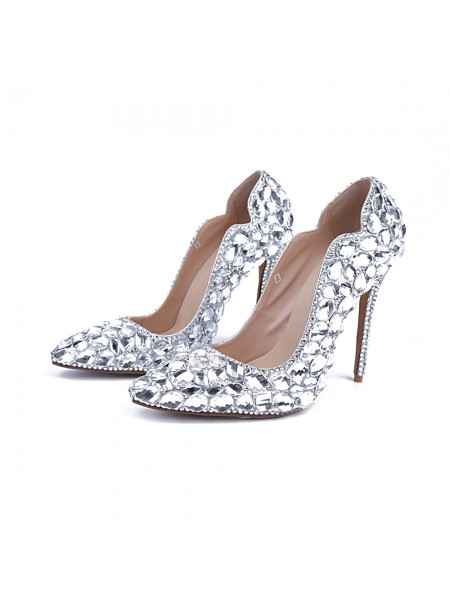 SheenOut Patent Leather Closed Toe Stiletto Heel With Rhinestone Silver Wedding Shoes S5MA04150LF
