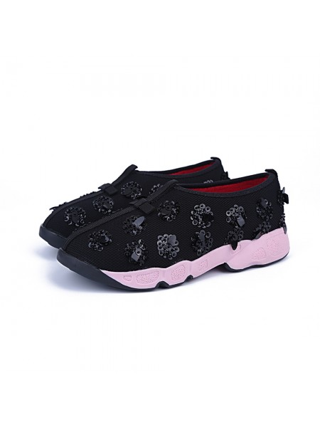 SheenOut Net Flat Heel Closed Toe Casual Black Fashion Sneakers S5MA04154LF