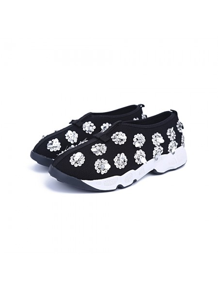 SheenOut Net Closed Toe Flat Heel Casual Black Fashion Sneakers S5MA04155LF