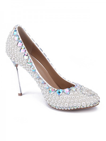 SheenOut Patent Leather Closed Toe Stiletto Heel With Pearl White Wedding Shoes S5MA0427LF