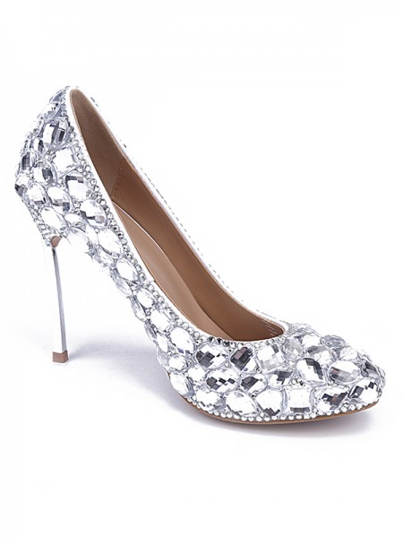 SheenOut Patent Leather Closed Toe Stiletto Heel With Rhinestone Silver Wedding Shoes S5MA0428LF