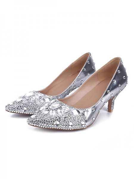 SheenOut Sheepskin Closed Toe Cone Heel With Rhinestone Silver Wedding Shoes S5MA0430LF