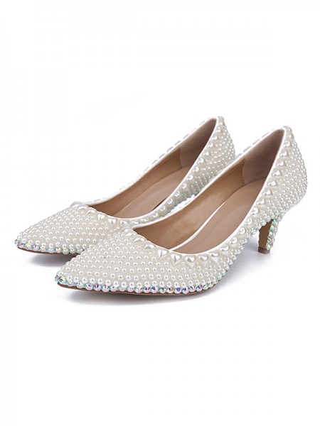 SheenOut Patent Leather Closed Toe Cone Heel With Pearl White Wedding Shoes S5MA0431LF