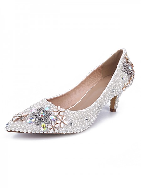 SheenOut Cone Heel Patent Leather Closed Toe With Pearl White Wedding Shoes S5MA0432LF