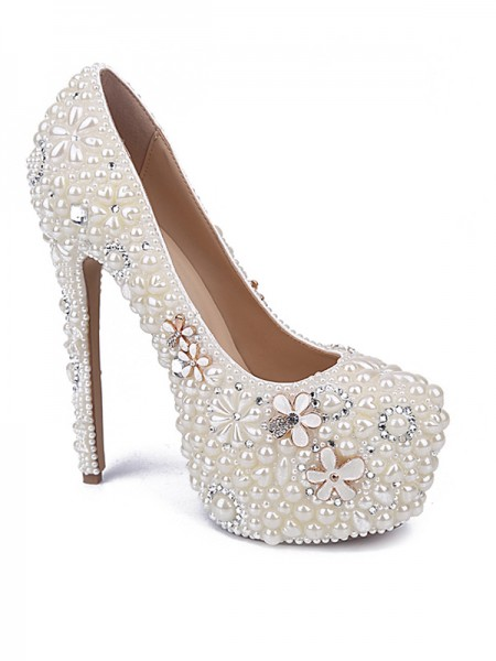 SheenOut Patent Leather Closed Toe Stiletto Heel With Pearl Rhinestone White Wedding Shoes S5MA0435LF
