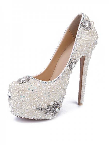 SheenOut Stiletto Heel Patent Leather Closed Toe With Pearl Rhinestone White Shoes S5MA0436LF