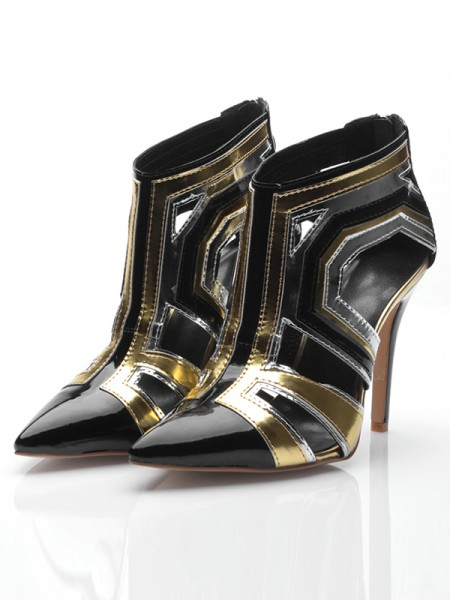 SheenOut Stiletto Heel Patent Leather Closed Toe With Zipper Ankle Black Boots S5MA0450LF