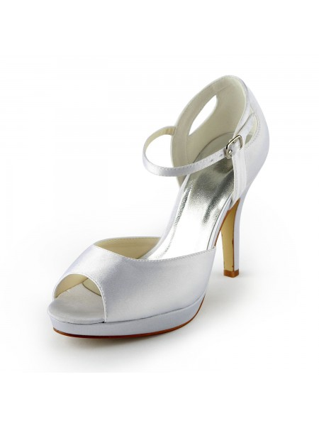 SheenOut Satin Stiletto Heel Peep Toe Platform Sandals White Wedding Shoes With Buckle S137038