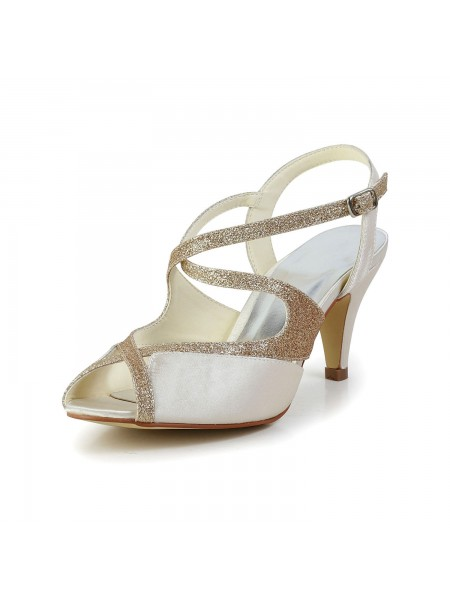 SheenOut Satin Peep Toe Pumps Sandals Dance Shoes With Rhinestone S5594949