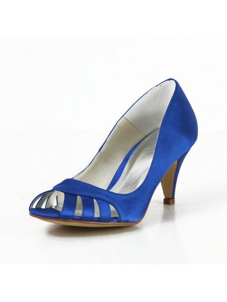 SheenOut Satin Cone Heel Peep Toe Pumps High Heels With Hollow-out S4594941