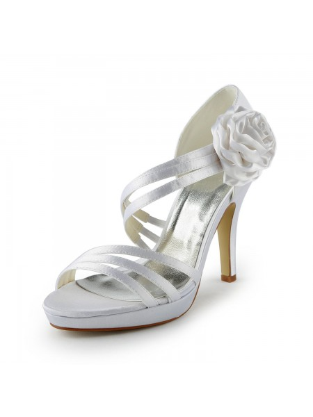 SheenOut Satin Stiletto Heel Platform Sandals White Wedding Shoes With Flower S137032