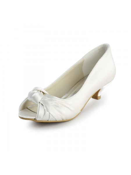 SheenOut Satin Kitten Heel Peep Toe Sandals White Wedding Shoes With Bowknot S20111