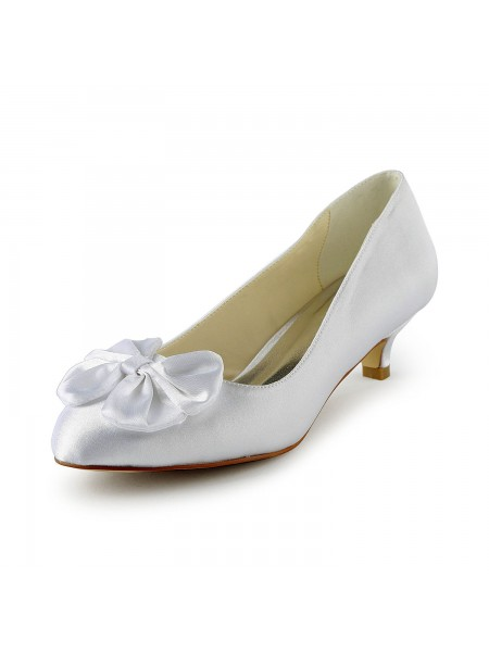 SheenOut Satin Kitten Heel Pumps With Bowknot White Wedding Shoes S10112