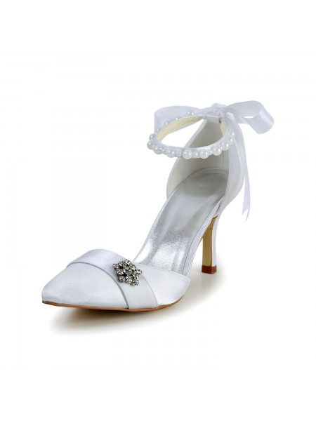 SheenOut Satin Stiletto Heel Closed Toe Dance Shoes Pearl S5A3122