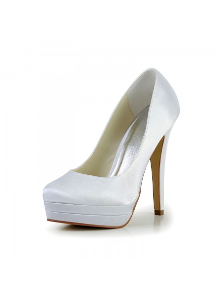 SheenOut Satin Stiletto Heel Closed Toe Platform White Wedding Shoes S14093C