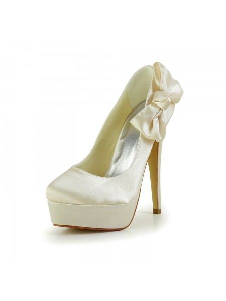 SheenOut Satin Stiletto Heel Closed Toe Platform Champagne Wedding Shoes With Bowknot S12013