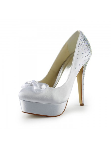 SheenOut Satin Stiletto Heel Closed Toe Platform White Wedding Shoes With Bowknot S120113B