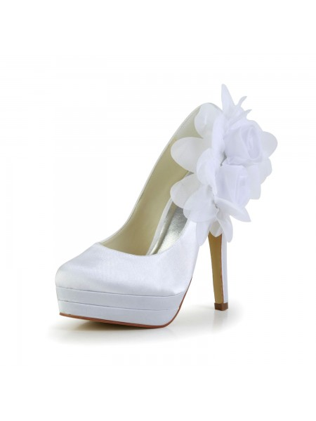 SheenOut Satin Stiletto Heel Closed Toe Platform Pumps White Wedding Shoes With Satin Flower S14093