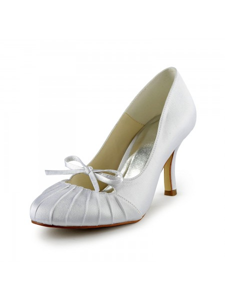 SheenOut Satin Stiletto Heel Closed Toe Pumps White Wedding Shoes With Bowknot Ruched S1A31B15