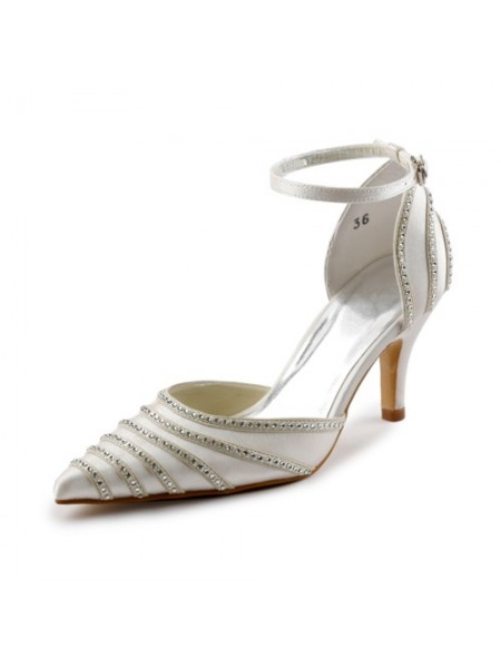 SheenOut Satin Stiletto Heel Closed Toe Pumps Dance Shoes With Buckle Rhinestone S23732