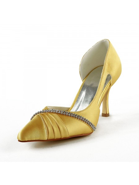 SheenOut Satin Stiletto Heel Closed Toe Pumps Gold Wedding Shoes With Rhinestone S1A317