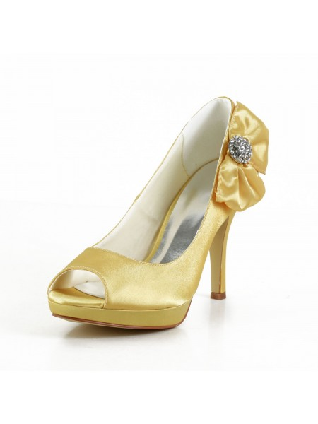 2ab724806c9f3e SheenOut Satin Stiletto Heel Peep Toe Platform Gold Wedding Shoes With  Bowknot S43708A