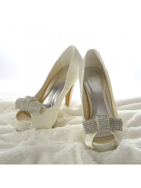 753b9f951f650a SheenOut Satin Stiletto Heel Peep Toe Platform Ivory Wedding Shoes With  Rhinestone S14098